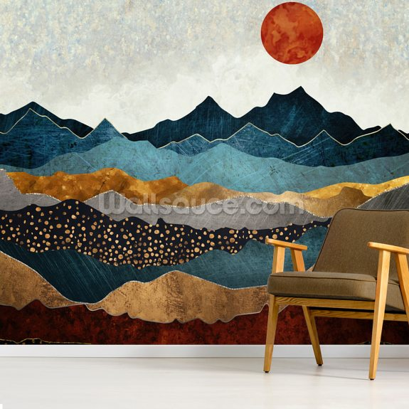 Amber Dusk wallpaper mural room setting