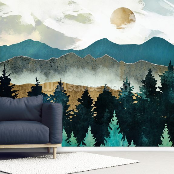 Forest Mist wall mural room setting