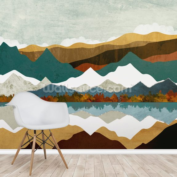 Mountain Reflection wall mural room setting