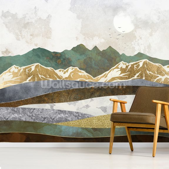 Winter Hills mural wallpaper room setting