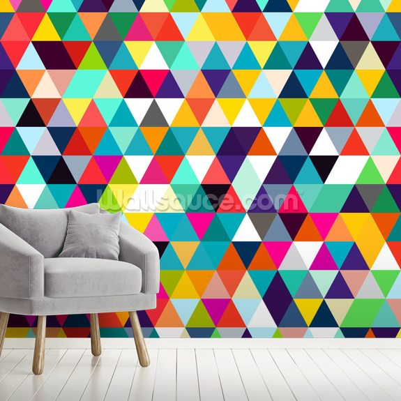 Mosaic Triangles wallpaper mural room setting