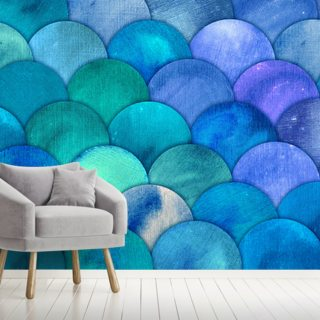 Aqua Blue Mermaid Scales Wallpaper Wall Murals