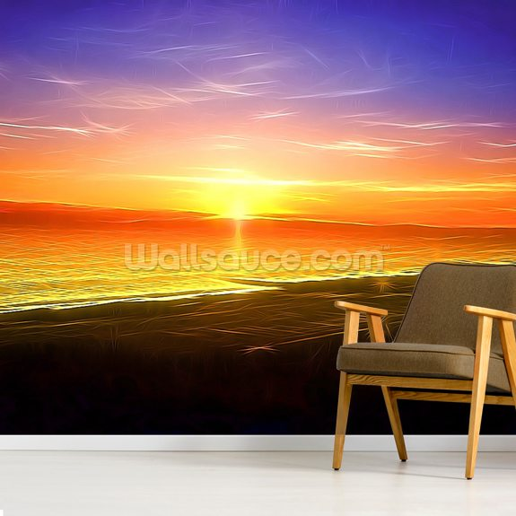 Light Sunset wallpaper mural room setting