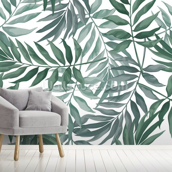 Green Leaves Watercolor mural wallpaper room setting