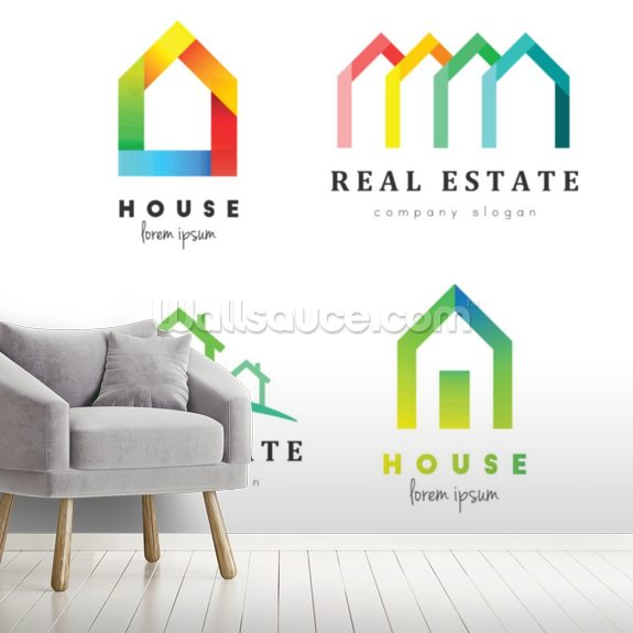 Creative House Logo Set In Various Style And Colors Design And Concept For Real Estate Wallsauce De