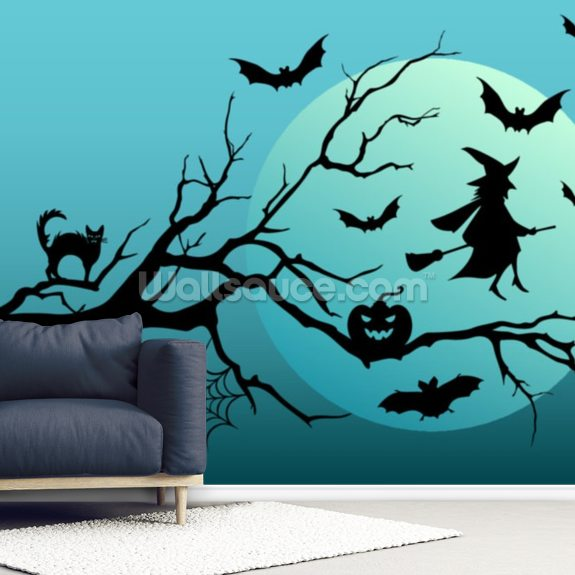 Witch and Bats mural wallpaper room setting
