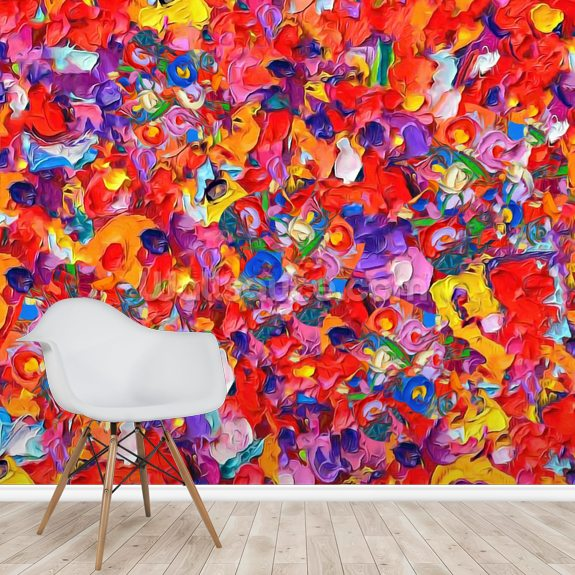 Multicoloured Poppies wall mural room setting