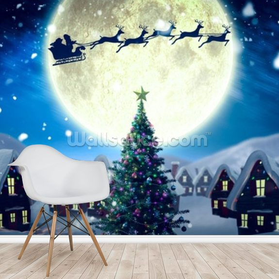 Santa Delivering Presents mural wallpaper room setting