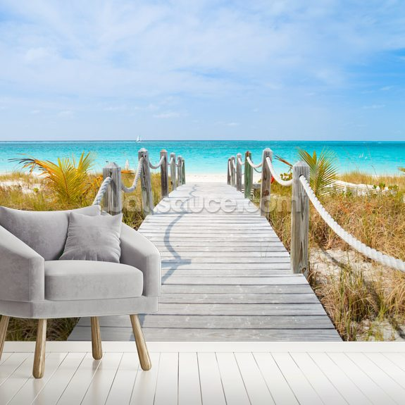 Caribbean Beach: Caribbean Beach Boardwalk Wallpaper Mural