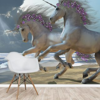 Unicorns at Play Wallpaper Wall Murals