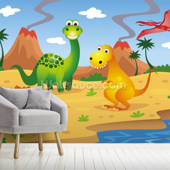 Fun Dinosaurs mural wallpaper room setting