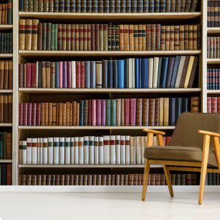 Old Books Bookcase Wallpaper Wall Murals