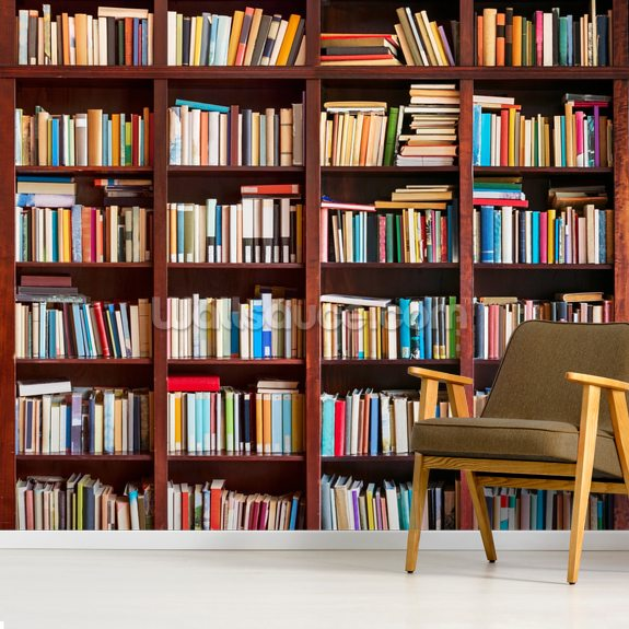 Bookcase mural wallpaper room setting