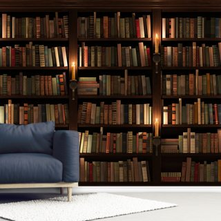 Bookcase and Candles Wallpaper Wall Murals