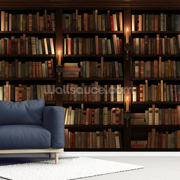 Bookcase and Candles wallpaper mural room setting