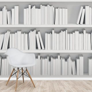 Bookcase with White Books Wallpaper Wall Murals
