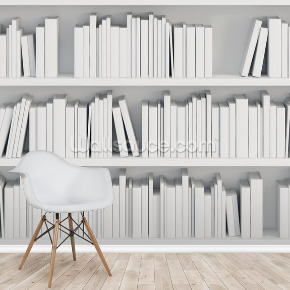 Bookcase With White Books Mural Wallpaper Room Setting