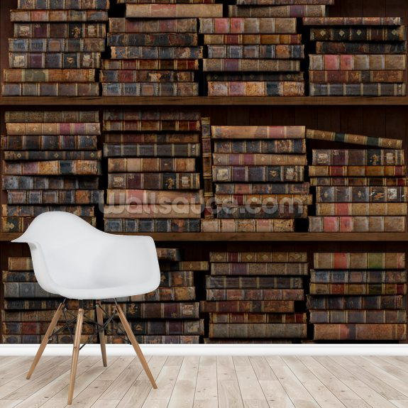 Horizontal Books mural wallpaper room setting