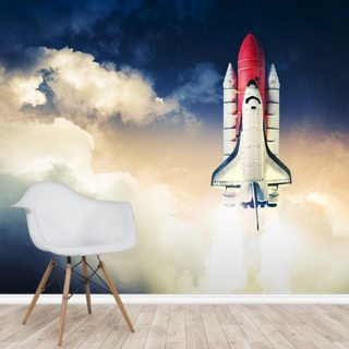 Space Shuttle against Dark Sky Wallpaper Wall Murals