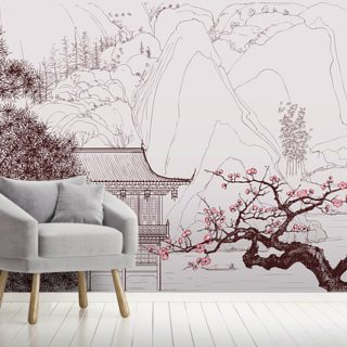 Delicate Chinese Landscape Illustration Wallpaper Wall Murals