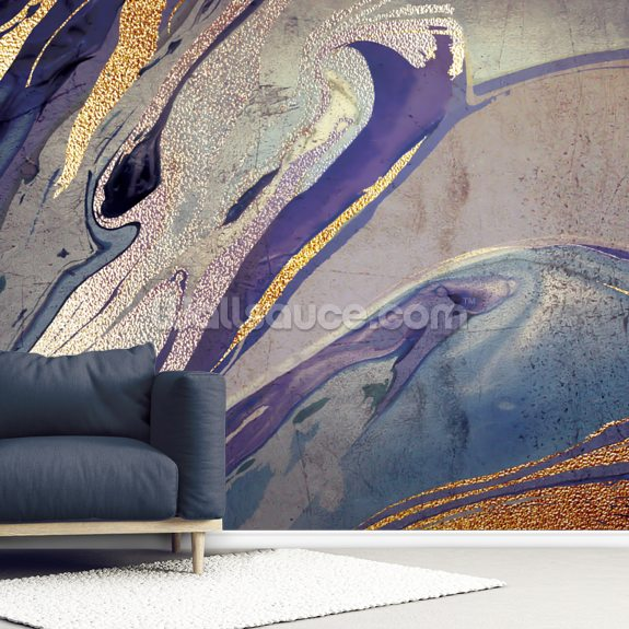 Blue Marble mural wallpaper room setting