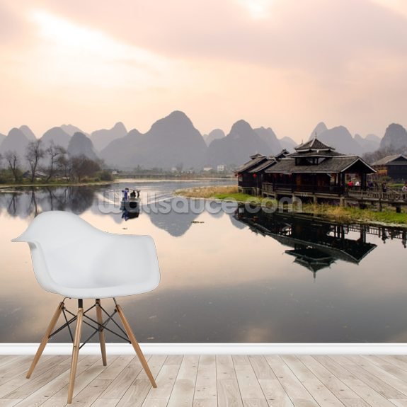 Sunrise in Yangshuo, Guilin wall mural room setting