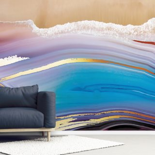Golden Blue Seascape Wallpaper Wall Murals