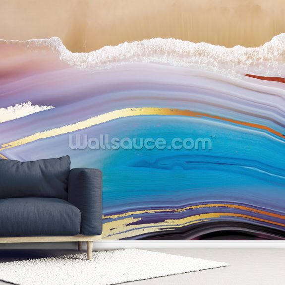 Golden Blue Seascape wall mural room setting