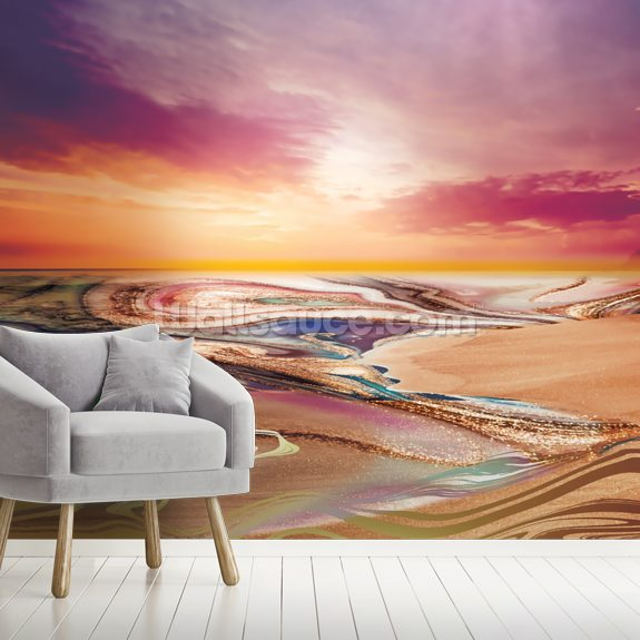Lilac Golden Ombre Seascape wallpaper mural room setting