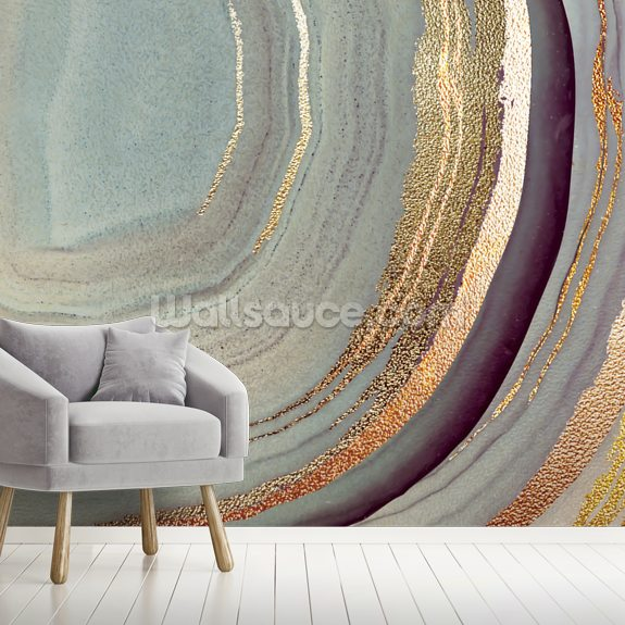 Gold Dust Grey Marble wall mural room setting