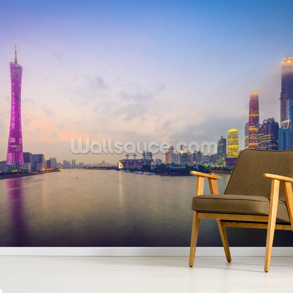 Guangzhou Skyline wallpaper mural room setting
