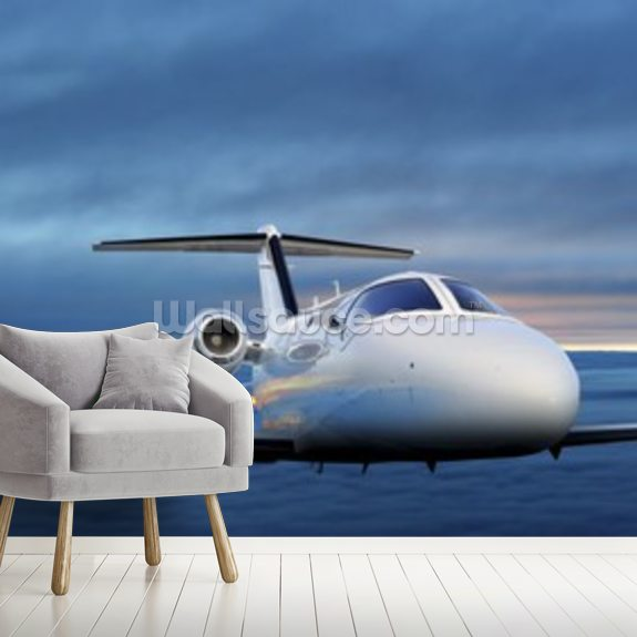 Executive In Flight At Sunset Wallpaper Mural Wallsauce Ae