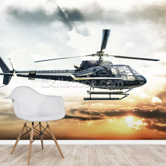 Helicopter wallpaper mural room setting