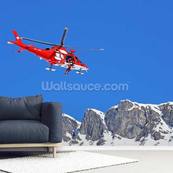 Mountain Rescue Helicopter wallpaper mural room setting