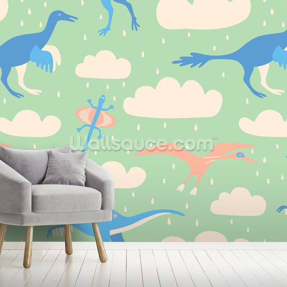 Flying Dinosaurs wall mural room setting