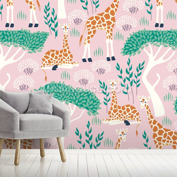 Giraffe wallpaper mural room setting