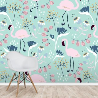 Flamingo Mint Wallpaper Wall Murals