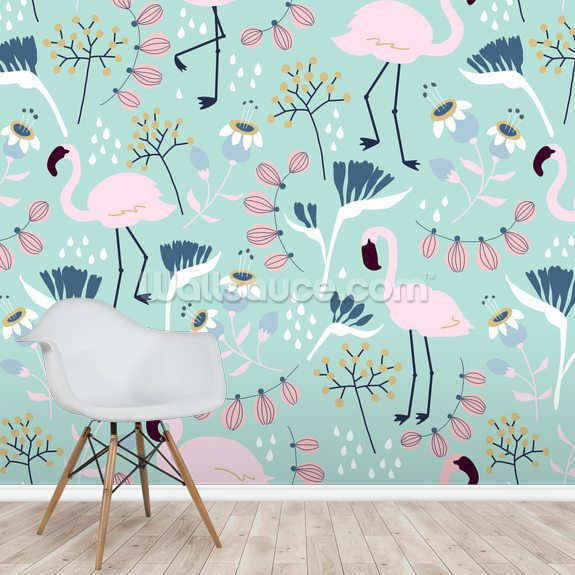 Flamingo Mint wall mural room setting