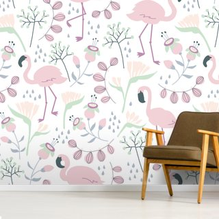 Flamingo White Wallpaper Wall Murals