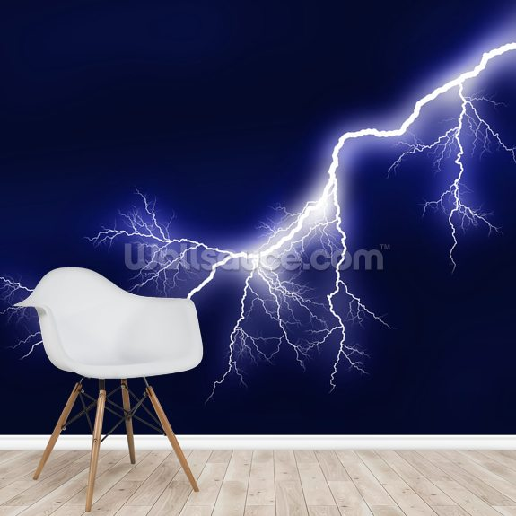 Lightning wall mural room setting