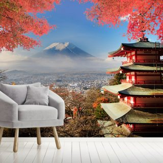 Mt. Fuji with Autumn Colours Wallpaper Wall Murals