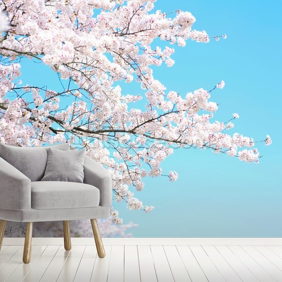 Pink Blossom wall mural room setting