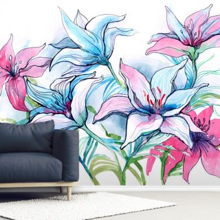 Lily Flowers Wallpaper Wall Murals