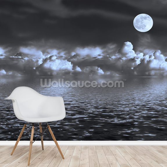 Moon Seascape wall mural room setting