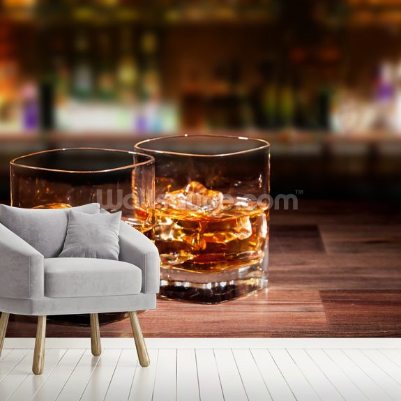 Whiskey Drinks wallpaper mural room setting