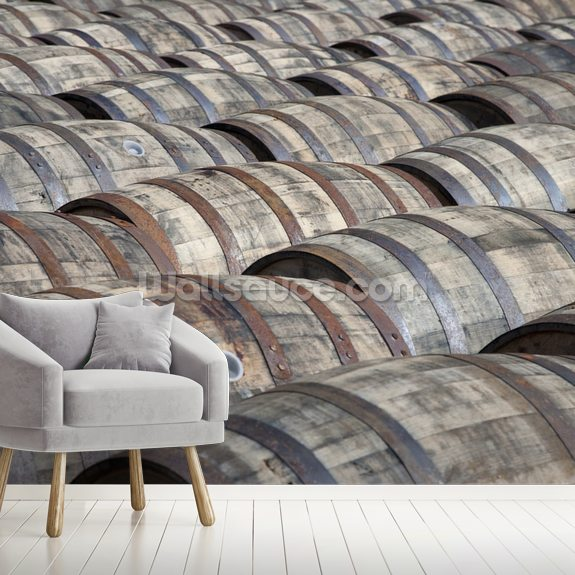 Oak Whisky Casks wallpaper mural room setting
