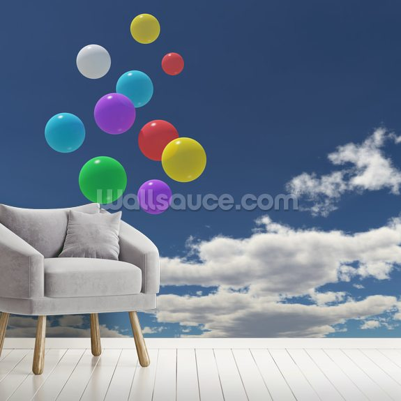 Balloons in the Sky wallpaper mural room setting