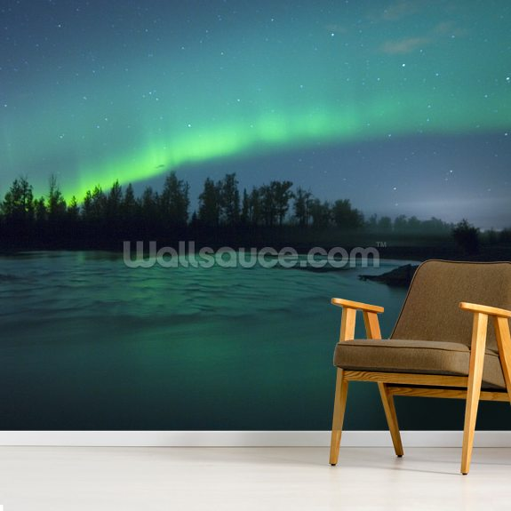 Aurora Borealis Over the River mural wallpaper room setting