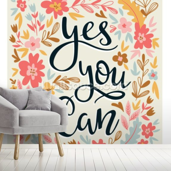 Yes You Can mural wallpaper room setting
