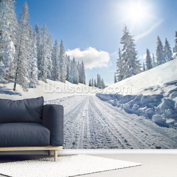 Empty Snow Covered Road wallpaper mural room setting